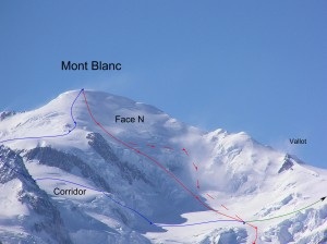 Map of our ski descent off the North Face of Mt Blanc
