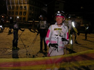 Getting ready to start at La Clusaz night race