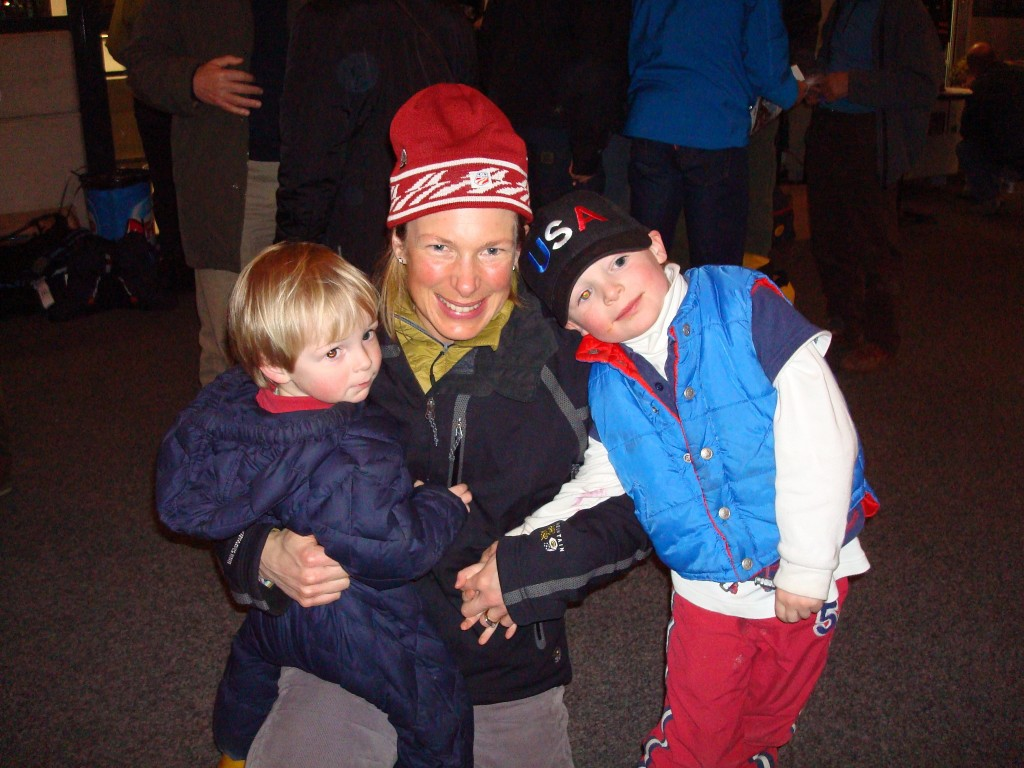 Opening Ceremony of skimo World Champs in 2008 with my boys (then 2 & 4)