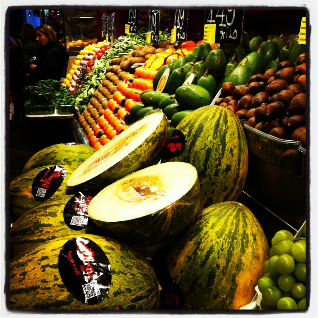 Get your fresh veggies and fruit at the Barcelona market...bliss