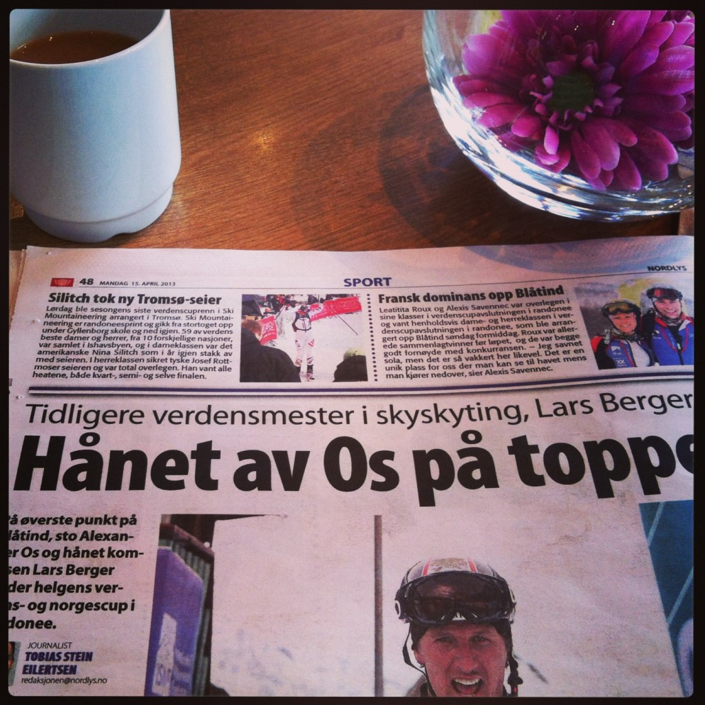 Sharing the local newspaper with xcountry ski star Lars Berger