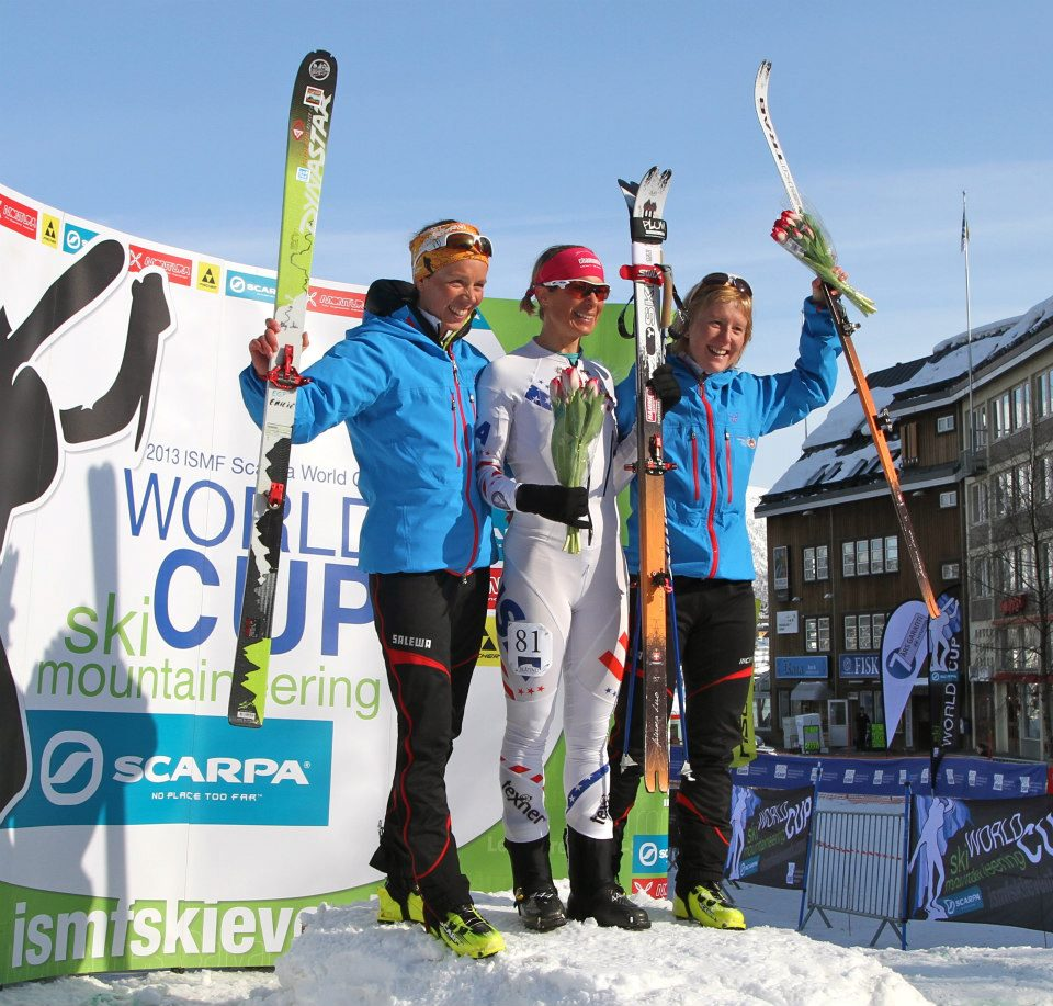 The Womens Sprint Podium Flower Ceremony Gold- Nina SIlitch USA Silver- Emelie Gex Fabrey CH- Bronze Mirielle Richard CH