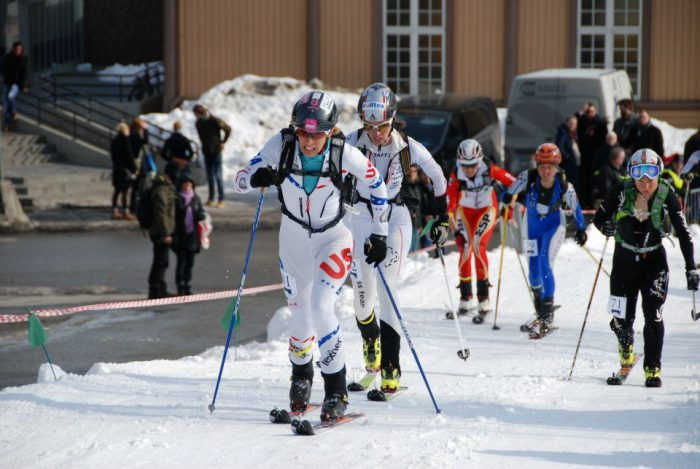 All nations competing together World Cup Spring Tromso, Norway. Nina on her way to gold for USA