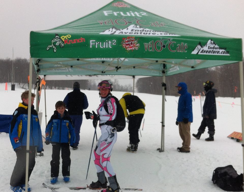 The boys welcoming me to the finish of the Jay Peak Race