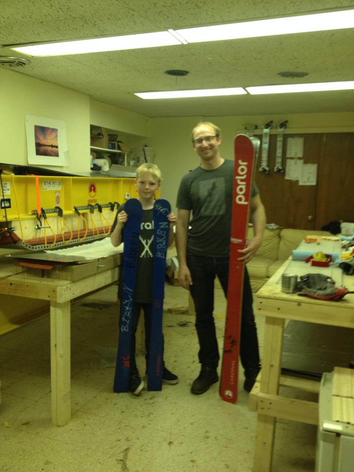 Visit to Parlor Skis with my 10 year old with his handmade skis and the Parlor Cardinals