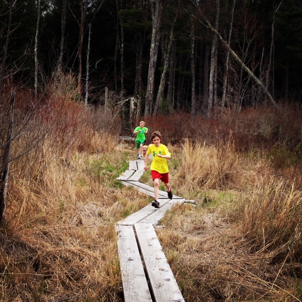 A pre-race prep run with the boys. We ran on wooden planks like this in the course.