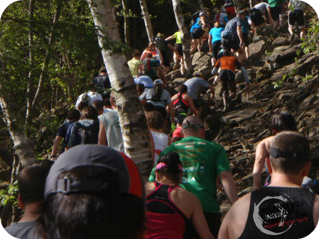 The first steep climb out of the start. This year, there were 4 waves which alleviated the bottle neck.